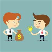 Businessman change money with idea vector — Stockvector