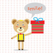 Bear holding gift with bubble speech word smile! vector — Stock Vector