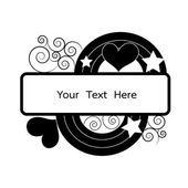 Monture noire avec spirale florale, coeur, étoile et arc-en-ciel pour texte v — Vecteur