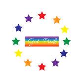 Gay pride rainbow with star circle vector — Stock Vector