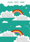 Retro grunge background with white cloud and rainbow with place — Stock Vector