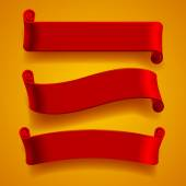 Three red banners — Stock Vector