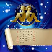 Zodiac Calendar page — Stock Vector