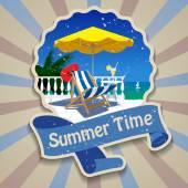 Summer time label — Cтоковый вектор