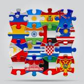 Puzzle flags — Wektor stockowy