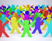 Many people cartoon silhouette colored — Stock Photo