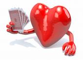 Heart with arms and legs been playing poker — Stock Photo