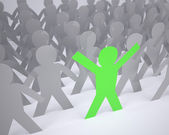 Many people cartoon silhouette grey and one green — Stock Photo