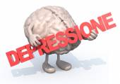 "Brain with arts that embraces a word ""depressione"" — Stock Photo"