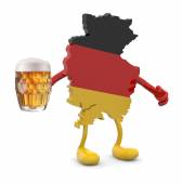 Germany map with arms, legs and glass mug of beer on hand — Stock Photo
