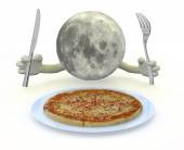 Moon planet with hands, fork and knife in front of a pizza dish — Stockfoto
