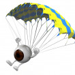 Eyeball that is landing with parachute — Stock Photo #57368567