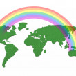 World map made with grass and rainbow over — Stock fotografie #63565407