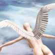 Naked beauty woman with wings fly — Stockfoto #63565609