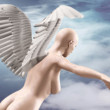 Naked beauty woman with wings fly — Stockfoto #63565669