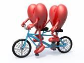 Due cuori bicicletta tandem — Foto Stock