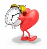 Heart with arms, legs that brings alarm clock — Stock Photo