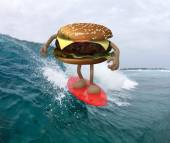 Hamburger with arms and legs that surfing on the sea — Stock Photo