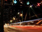 Night traffic light trail — Stock Photo