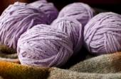 Balls of woolen threads for knitting — Stock Photo