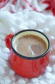 Hot chocolate  in a red mug — Stock Photo