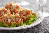 Tartlet plněný lososový salát — Stock fotografie
