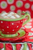 Red mugs with hot chocolate — Stock Photo