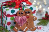 Christmas Decorations with Gingerbread man — Stock Photo