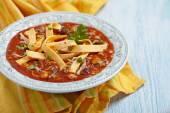 Chicken Tortilla soup — Stock Photo