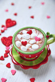 Hot chocolate for Valentine day — Stock Photo