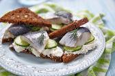 Sandwich with herring — Stock Photo