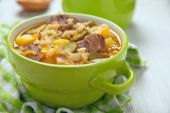 Soup with pickles and barley — Stock Photo