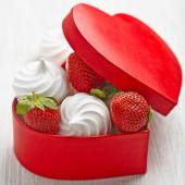Strawberry and meringue for Valentines Day — Stock Photo