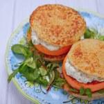Salmon burger with potato pancakes — Stock Photo #63432699