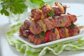 Grilled kebab with pepper and pineapple — Stock Photo