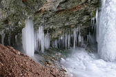 Frozen waterfall icicles — Stock Photo