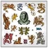 Heraldic lions — Stock Vector
