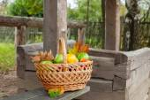 Ripe red apples in a basket — Stock Photo