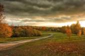Dirt road in the autumn field — Stock Photo