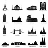 Landmark icons — Stock Vector