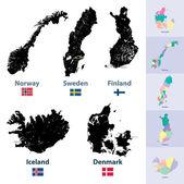 Scandinavia maps — Stock Vector