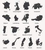 Vector set of european maps with region borders — Stock Vector