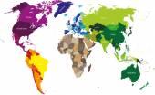 Kıta tarafından renkli Dünya Haritası — Stok Vektör