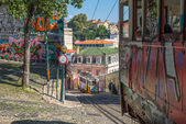 Very touristic place in downtown Lisbon, Portugal — Stock Photo