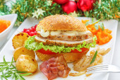 Christmas leftovers concept - Turkey meat Sandwich — Stock Photo
