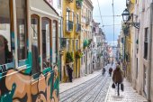 "Lisbon, Portugal, Europe - View from ""Bairro Alto"" tramway stree — Stock Photo"