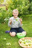 Boy eating apples — Stock Photo