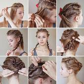 Twisted hairdo tutorial — Stock Photo