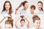 Hairstyle tutorial by beauty blogger. — Stock Photo