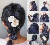 Cute braid tutorial — Stock Photo